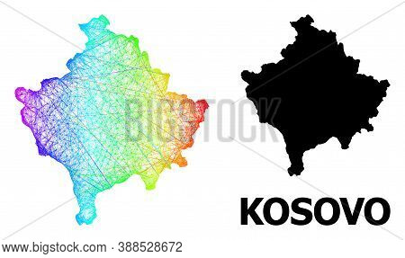 Net And Solid Map Of Kosovo. Vector Structure Is Created From Map Of Kosovo With Intersected Random