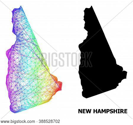 Network And Solid Map Of New Hampshire State. Vector Model Is Created From Map Of New Hampshire Stat
