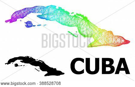 Wire Frame And Solid Map Of Cuba. Vector Structure Is Created From Map Of Cuba With Intersected Rand