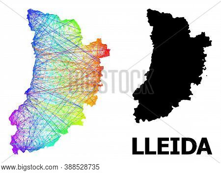 Wire Frame And Solid Map Of Lleida Province. Vector Structure Is Created From Map Of Lleida Province