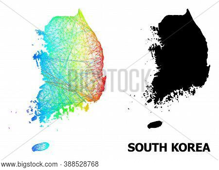 Net And Solid Map Of South Korea. Vector Model Is Created From Map Of South Korea With Intersected R
