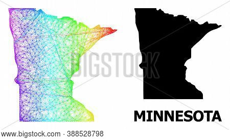 Wire Frame And Solid Map Of Minnesota State. Vector Structure Is Created From Map Of Minnesota State