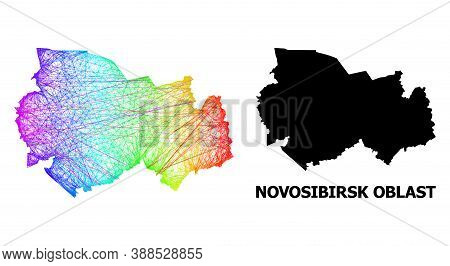 Wire Frame And Solid Map Of Novosibirsk Region. Vector Structure Is Created From Map Of Novosibirsk