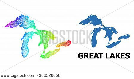 Network And Solid Map Of Great Lakes. Vector Structure Is Created From Map Of Great Lakes With Inter