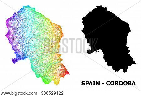 Wire Frame And Solid Map Of Cordoba Spanish Province. Vector Model Is Created From Map Of Cordoba Sp