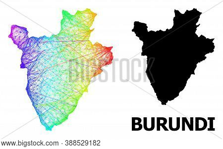 Wire Frame And Solid Map Of Burundi. Vector Model Is Created From Map Of Burundi With Intersected Ra