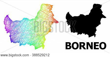 Wire Frame And Solid Map Of Borneo Island. Vector Model Is Created From Map Of Borneo Island With In