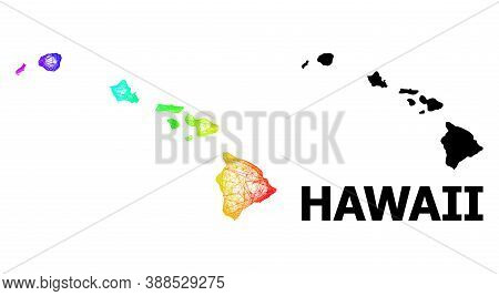 Wire Frame And Solid Map Of Hawaii State. Vector Structure Is Created From Map Of Hawaii State With