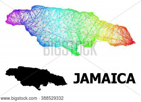 Wire Frame And Solid Map Of Jamaica. Vector Model Is Created From Map Of Jamaica With Intersected Ra