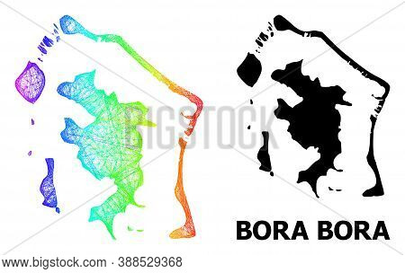 Wire Frame And Solid Map Of Bora-bora. Vector Model Is Created From Map Of Bora-bora With Intersecte