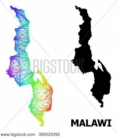 Network And Solid Map Of Malawi. Vector Structure Is Created From Map Of Malawi With Intersected Ran