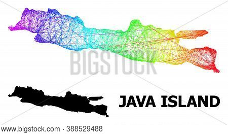 Wire Frame And Solid Map Of Java Island. Vector Model Is Created From Map Of Java Island With Inters