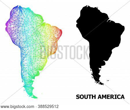 Net And Solid Map Of South America. Vector Structure Is Created From Map Of South America With Inter