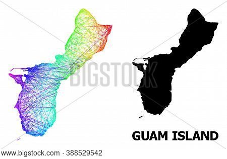 Network And Solid Map Of Guam Island. Vector Structure Is Created From Map Of Guam Island With Inter