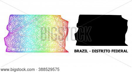 Network And Solid Map Of Brazil - Distrito Federal. Vector Model Is Created From Map Of Brazil - Dis