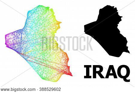 Wire Frame And Solid Map Of Iraq. Vector Structure Is Created From Map Of Iraq With Intersected Rand
