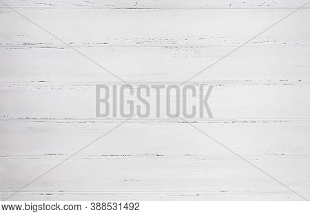 White Wood Texture Background, Top View. Wide Wooden Plank Panel Pattern. Full Frame Shot Of White W