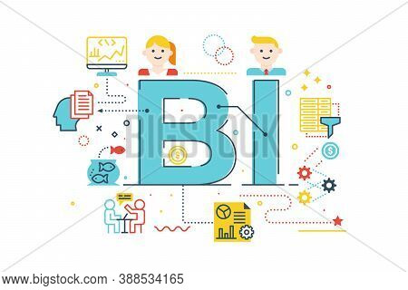Bi - Business Intelligence Word Lettering Illustration With Icons For Web Banner, Flyer, Landing Pag