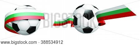 Balls For Soccer, Classic Football In Ribbons With Colors Of Bulgaria Flag. Design Element For Footb