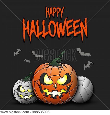 Happy Halloween. Template Volleyball Design. Volleyball Balls In The Form Of A Pumpkins On An Isolat