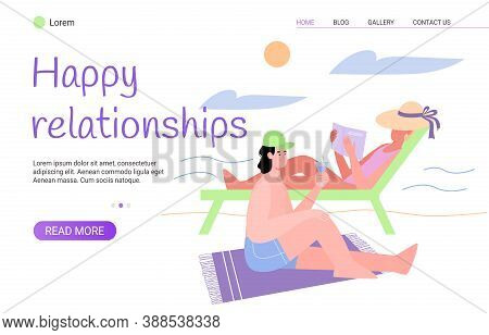 Happy Relationship Web Banner Template With Couple Spending Summer Vacation Together, Flat Vector Il