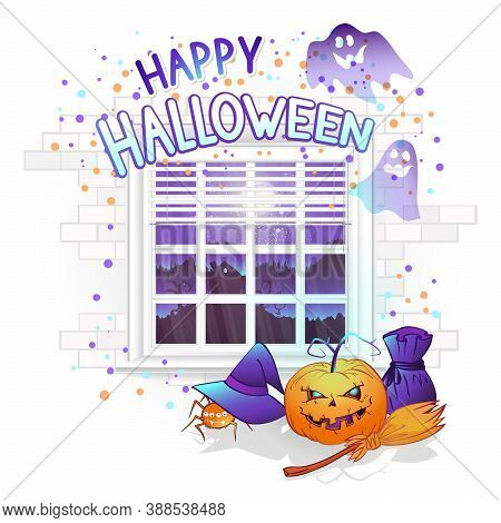 Vector Halloween Illustration With Window, Pumpkins And Hand Drawn Inscription On A Brick Light Back