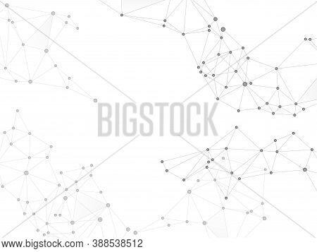 Geometric Plexus Structure Cybernetic Concept. Network Nodes Greyscale Plexus Background. Coordinate
