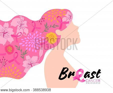The Power To Fight Breast Cancer. Breast Cancer Awareness With Woman Cartoon Illustration.
