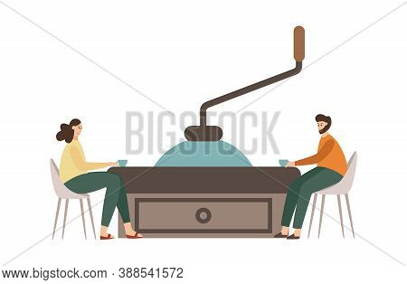 Visitors Of Coffee Shop Drinking Coffee A Vector Flat Isolated Illustration