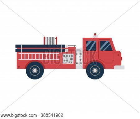 Firetruck Or Firefighting Car Cartoon Icon, Flat Vector Illustration Isolated.