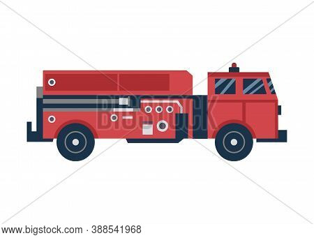 Cartoon Icon Of Red Firetruck Or Car, Flat Vector Illustration Isolated On White.