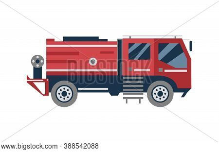 Cartoon Fire Engine Truck From Side View, Isolated Red Firetruck
