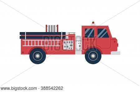 Red Cartoon Firetruck From Side View. Cartoon Fire Engine Truck