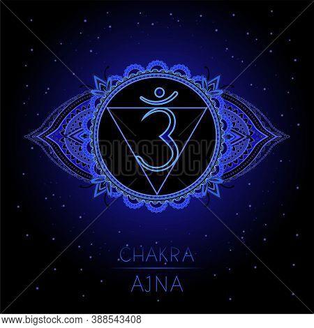 Vector Illustration With Symbol Ajna - Third Eye Chakra On Black Background. Round Mandala Pattern A