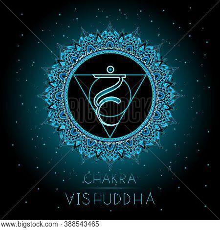 Vector Illustration With Symbol Vishuddha - Throat Chakra On Black Background. Round Mandala Pattern