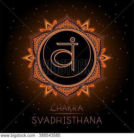 Vector Illustration With Symbol Svadhishana - Sacral Chakra On Black Background. Round Mandala Patte