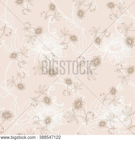 Seamless Pattern With Outline Tropical Passiflora Or Passionflower. Floral Vector Illustration
