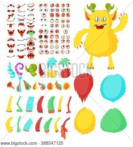 Cute Monster Cartoon Character Constructor Kit, Flat Vector Isolated Illustration. Funny Animal And