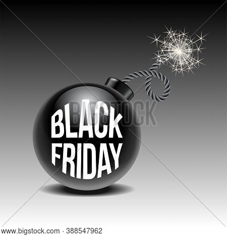 Black Friday Sale Background With Cartoon Bomb Ready To Explode