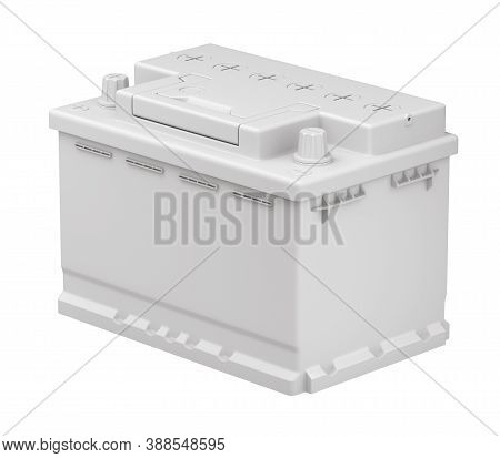 Clay Render Of Car Battery - 3d Illustration