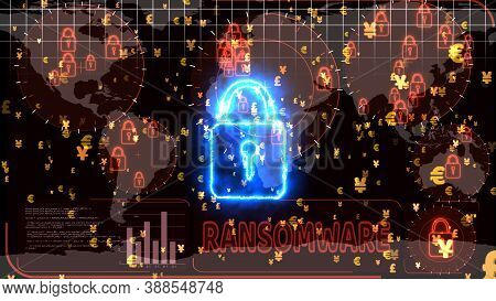 Hackers Encrypt Red Digital Technology Big Data Lock Is Detected By Radar On World Map, Alternate Co