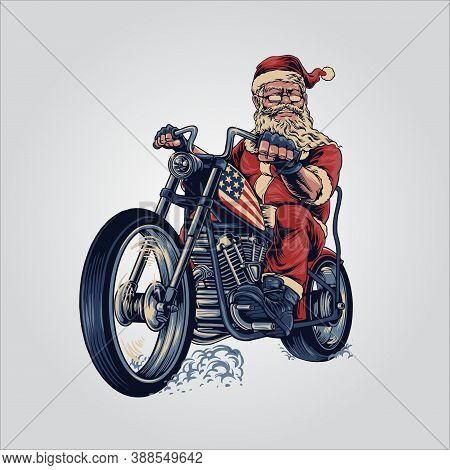 Bikers Santa Claus Merry Christmas Cooper Riding Motorcycle American Flag For Your Work Advertising
