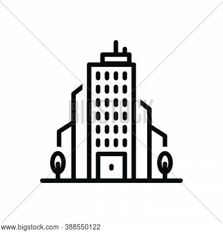 Black Line Icon For Corporation Office Bureau House Association Business Company Enterprise Society