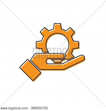Orange Hand Settings Gear Icon Isolated On White Background. Adjusting, Service, Maintenance, Repair