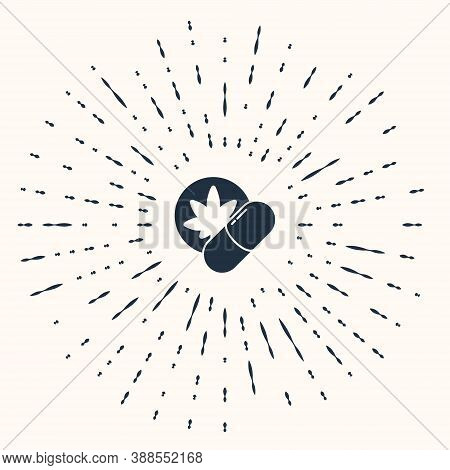 Grey Herbal Ecstasy Tablets Icon Isolated On Beige Background. Abstract Circle Random Dots. Vector I