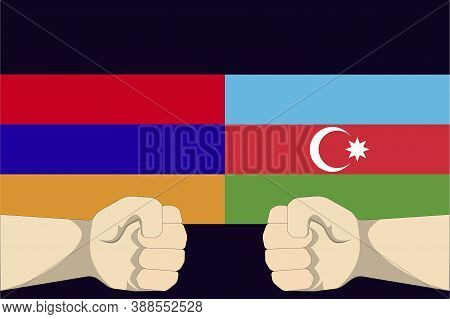 Illustration Vector Graphic Of Concept Of The Conflict Between Armenia And Azerbaijan With Two Oppos