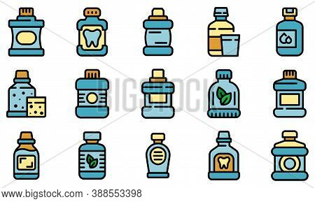 Mouthwash Icons Set. Outline Set Of Mouthwash Vector Icons Thin Line Color Flat On White