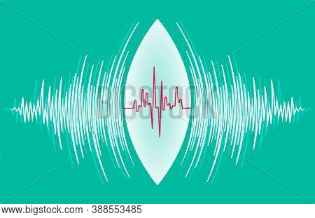 Abstract Technology Background With White Sound Waves Oscillating Around Heart Pulse. Vector Radial