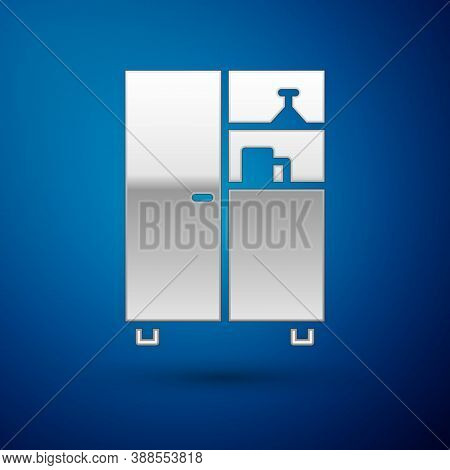 Silver Medicine Cabinet Icon Isolated On Blue Background. Vector Illustration