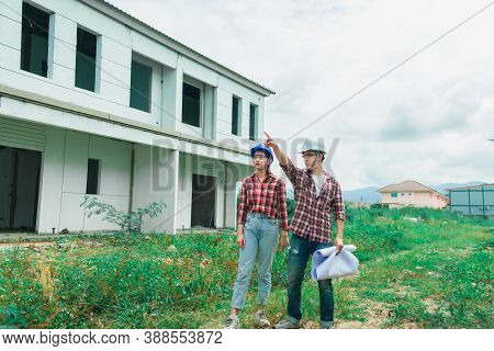 Young Asian Couple Foreman Engineering Home Inspection Building House Walk Home Inspection With Look